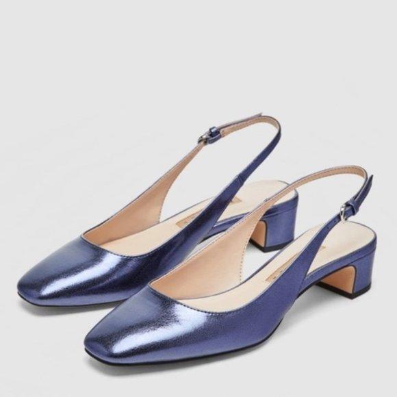 Zara Slingback Heel Sandals Metallic Blue, 37